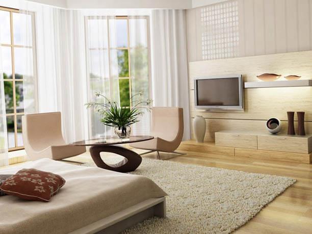 Apartament cu o camera cu pat matrimonial pe mijloc