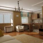 Apartament open space amenajat in nuante neutre