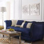 Canapea de catifea albastru inchis