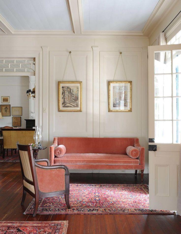 Canapea fixa de doua locuri din catifea culoare roz somon