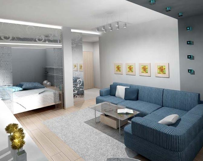 Coltar albastru pentru decorul unui apartament open space