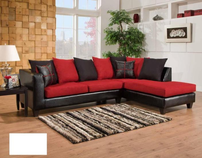 Coltar din piele negru cu perne rosii si negre