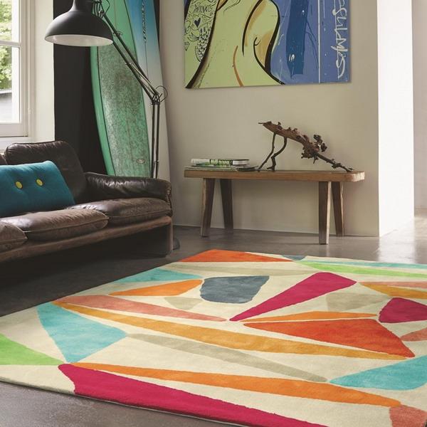 Covor pentru living cu modele geometrice ciu colorate