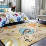 Covor cu imprimeu botanic pentru dormitor