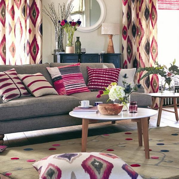 Covor din lana naturala crem cu culine roz si bleu
