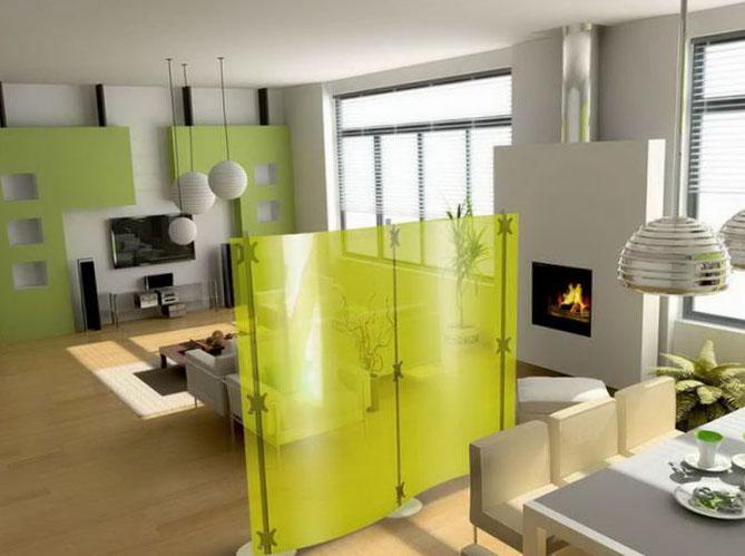 Garsoniera amenajat modern cu perete partial despatitor din sticla colorata