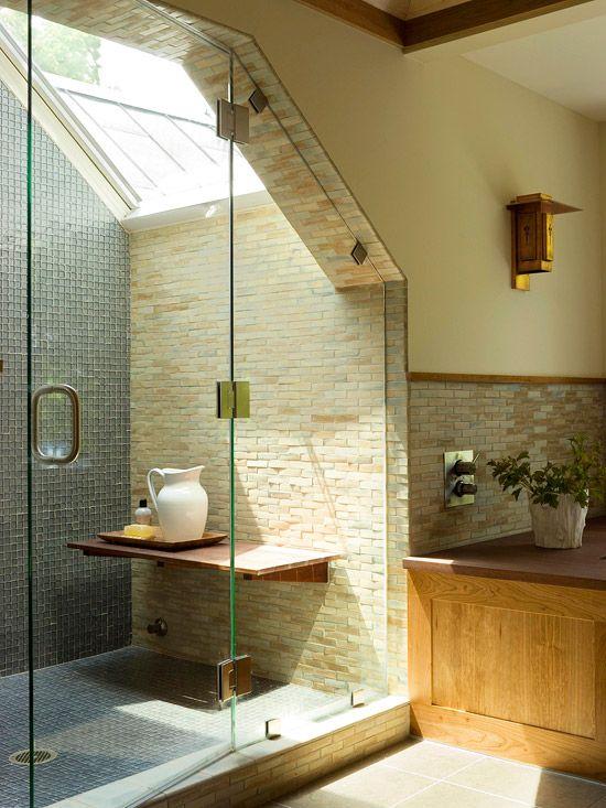 cabina de dus la mansarda relizata prin zidarie si placare cu piatra