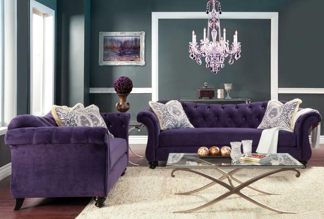 Canapele moderne din catifea violet