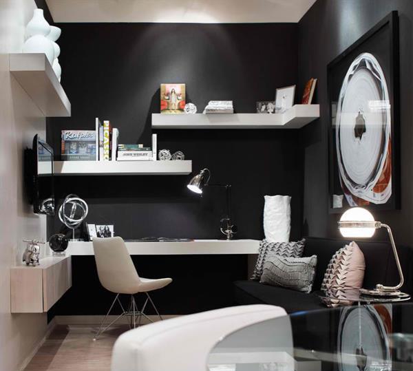 Amenajare minimalista cu etajere albe