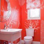 Baie cu peretii rosii si modele albe