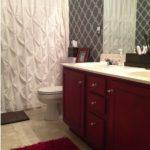 Dulap pentru chiuveta de baie rosu cu blat alb