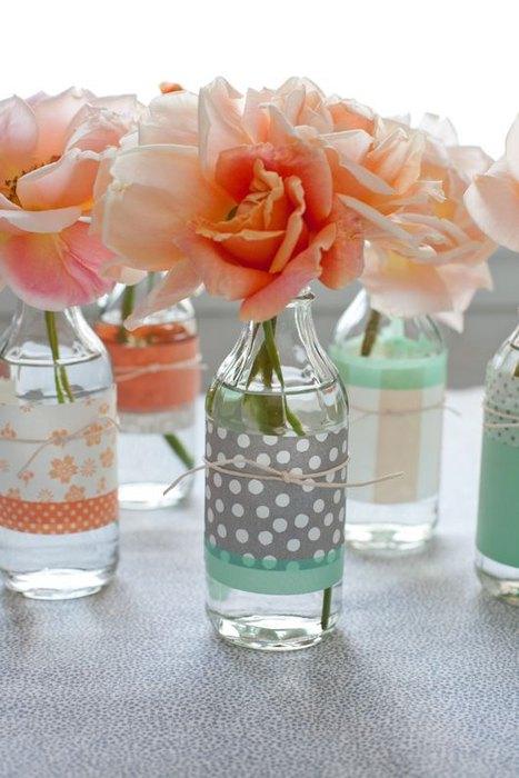 Sticle transparente decorate cu hartie imprimata
