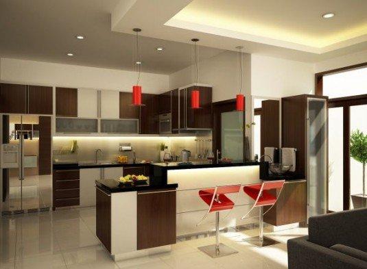 bucatarie cu mobilier alb si maro cu accente rosii
