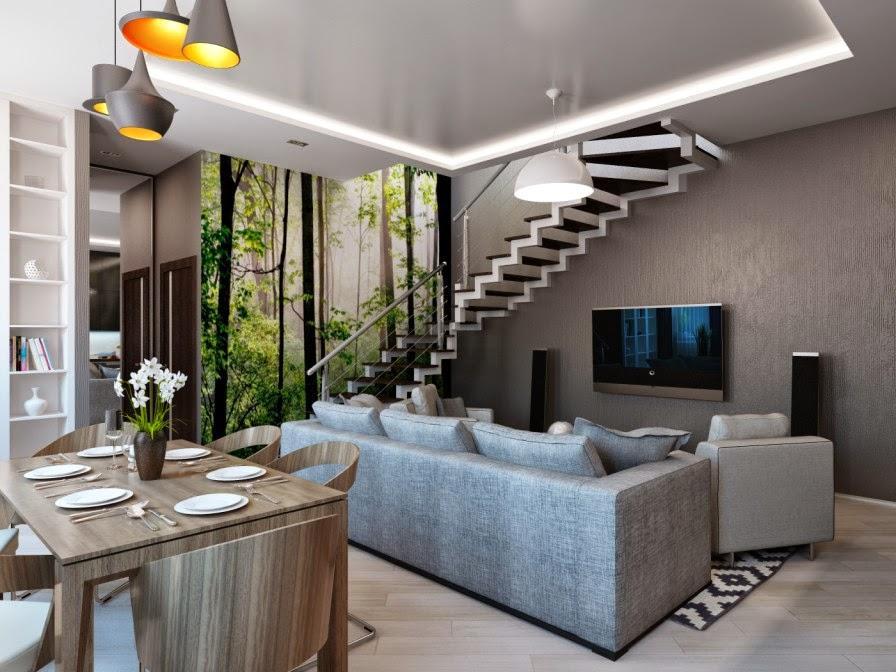 zona de living si dining cu scafa si spoturi in tavan