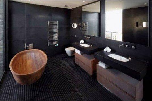 Baie neagra cu cada si mobilier din lemn