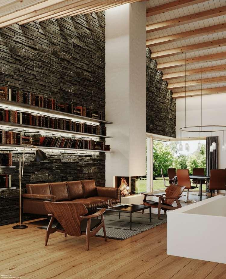 living modern cu mobilier din lemn perete din caramizi cu biblioteca semineu