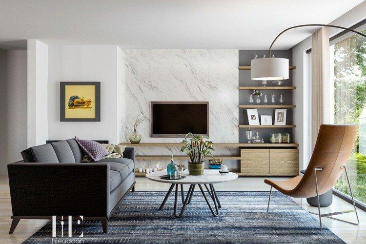 living modern decoratiune murala cu aspect de marmura alba