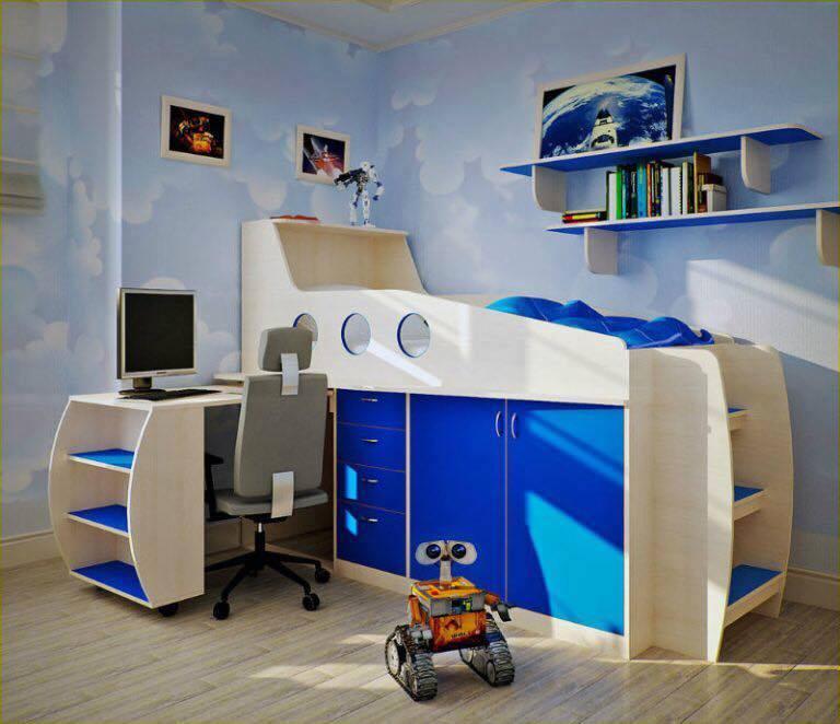 mobila alba cu albastru pentru camera copilului