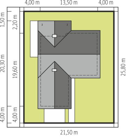 Amplasare pe lot casa in forma de T