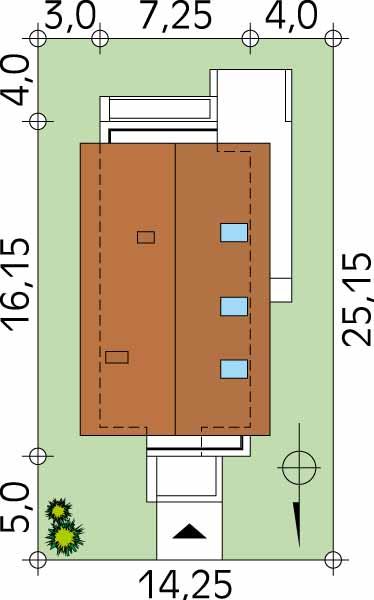 Amplasare pe teren casa de 7 metri latime