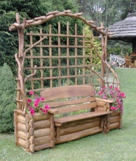 Banca de gradina din lemn rotund cu ghivece de flori