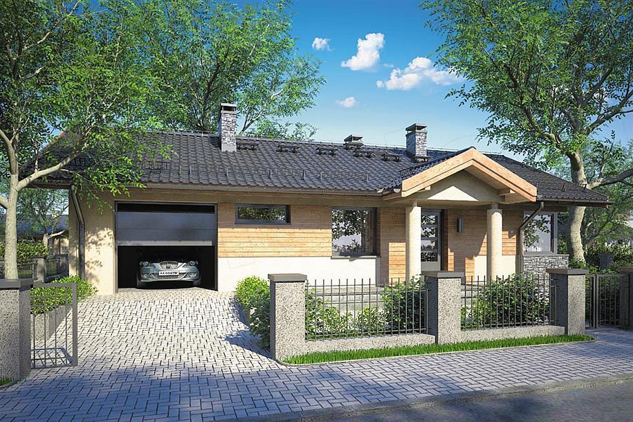 Casa construita pe latime cu garaj incorporat
