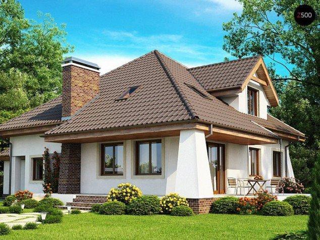 Casa cu acoperis in 4 ape si horn cu klinker