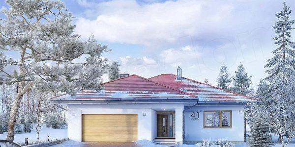 Casa cu fatada alba si acoperis rosu