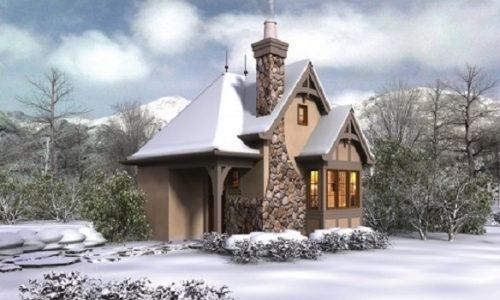 Casa mica cu horn exterior placat cu piatra