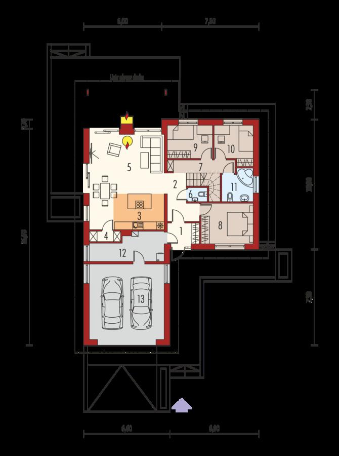 Casa parter si pod cu 3 dormitoare