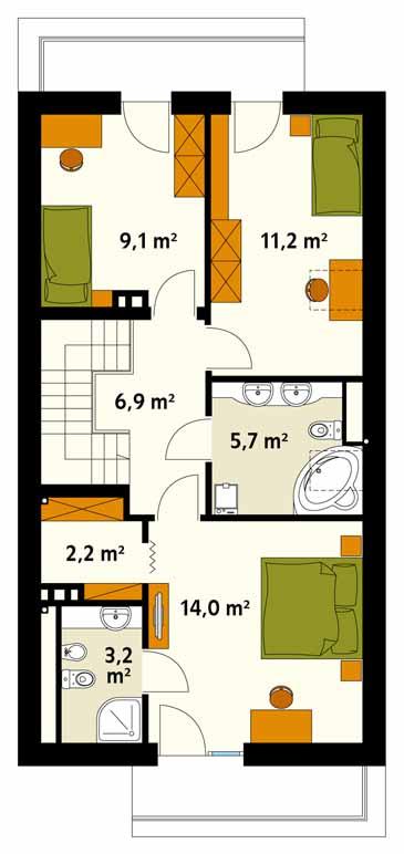 Etaj cu 3 dormitoare casa ingusta