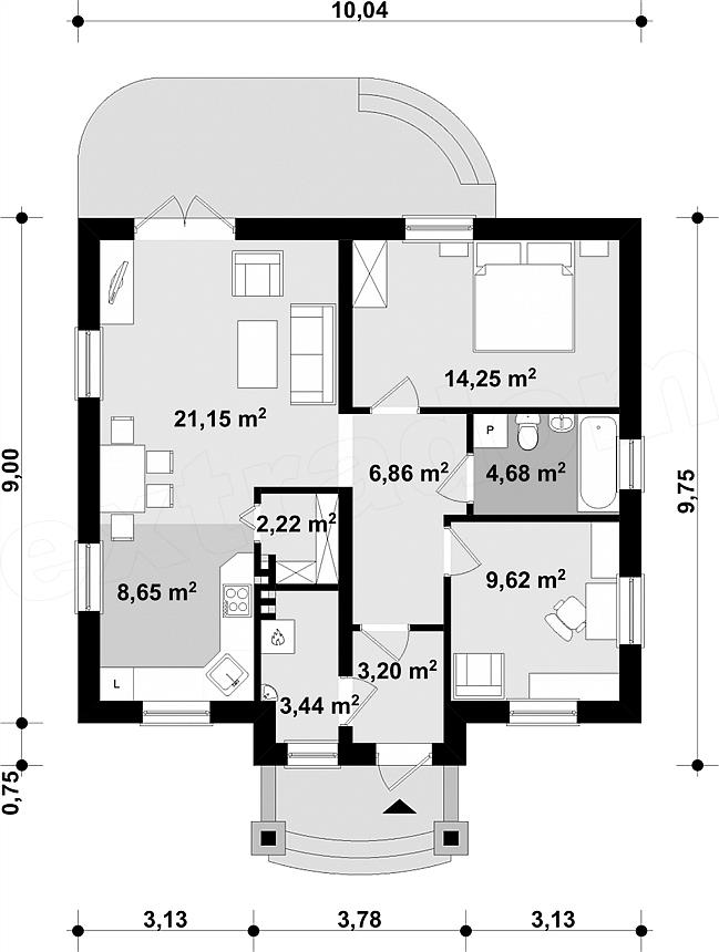 Parter casa cu 2 dormitoare