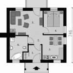 Plan casa mica de 46 mp