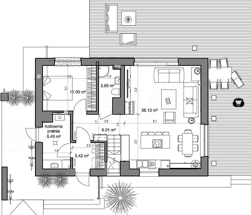 Plan parter casa 65 mp for Plan 65