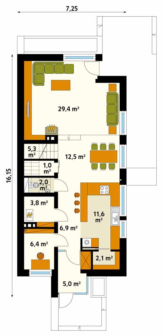 Plan parter casa cu latime 7 m