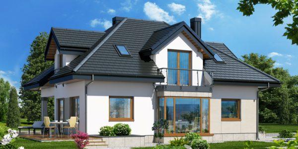 Casa cu mansarda si acoperis in 4 ape vedere laterala