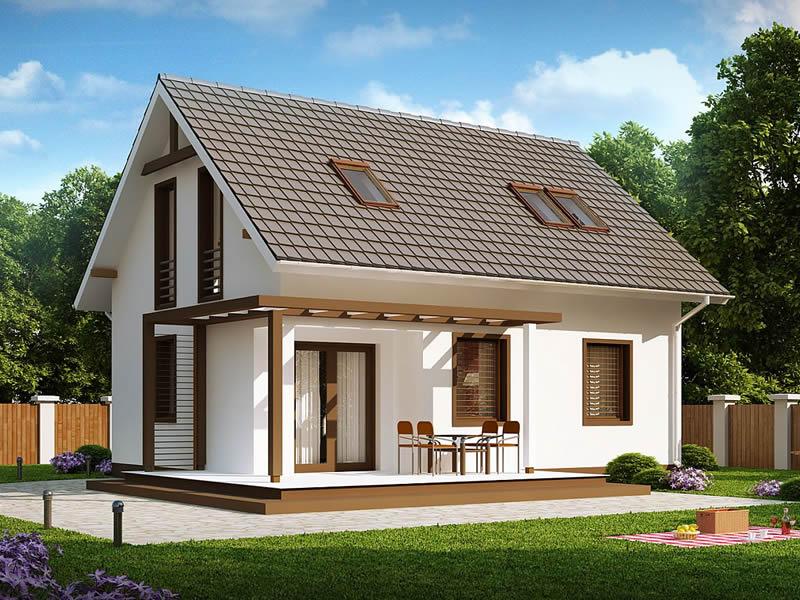 Casa cu mansarda si arhitectura clasica vedere spate