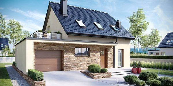 Casa cu mansarda trei dormitoare si garaj