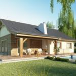 Casa cu terasa placata cu lemn