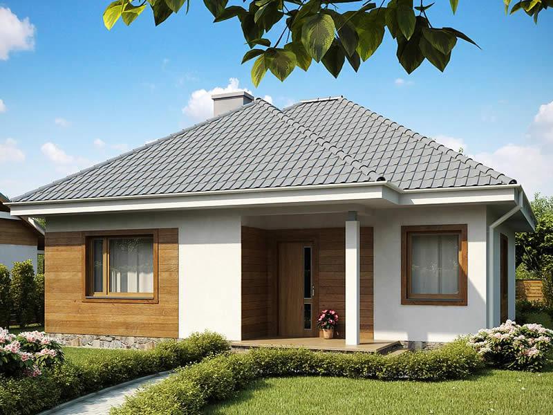 Casa parter cu doua camere cu fatada de lemn