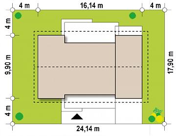 Dimensiuni parcela casa parter cu doua dormitoare si garaj