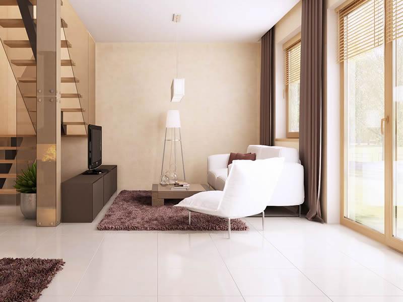 Living si scari casa cu trei dormitoare si mansarda