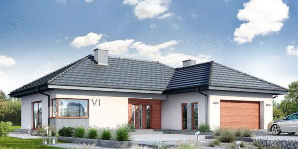 Model de casa cu parter in forma de L