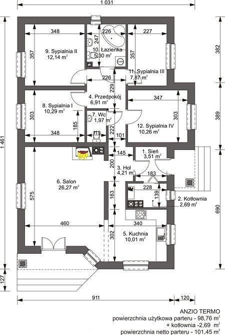Plan casa parter cu 4 dormitoare