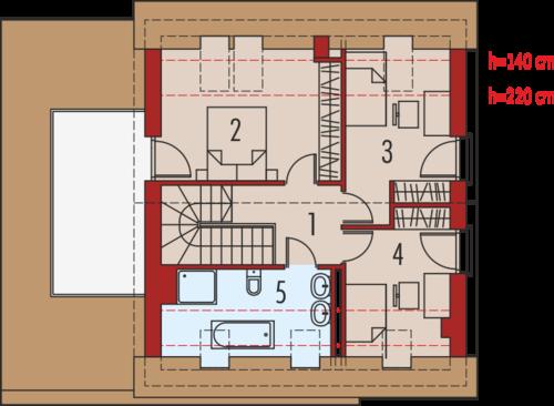 Plan etaj casa cu 3 dormitoare si garaj