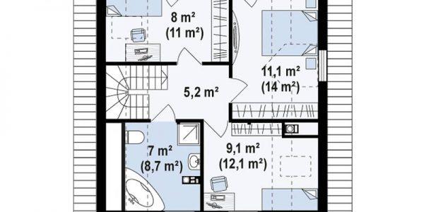 Plan etaj casa cu trei dormitoare si mansarda