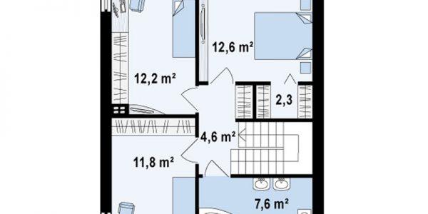 Plan etaj casa moderna cu etaj si 3 dormitoare