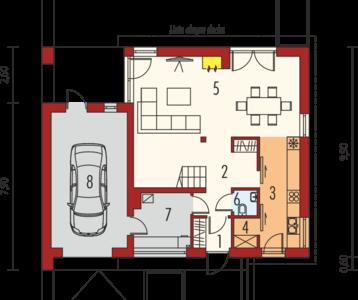 Plan parter casa cu 3 dormitoare si garaj