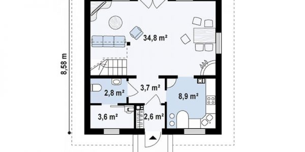 Plan parter casa cu trei dormitoare si mansarda