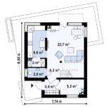 Plan parter casa moderna cu etaj si 3 dormitoare